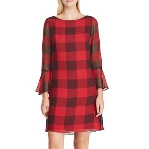 NWT CHAPS Size 12 Red & Black Bell Sleeve Dress